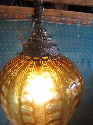 true Large Vintage Amber Glass Hanging Ceiling Drop Light Fixture with Chain