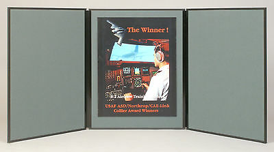 """Folding 3 panel 48"""" x 20"""" gray tabletop display for use with Velcro ® hook tape"""
