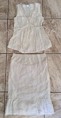 MOTHERHOOD MATERNITY Cute Eyelet Matching Skirt and Sleeveless Top Set Cream S