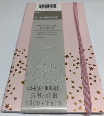 """Mead Organizer 3.5"""" x 6.5"""" 64 Page Password Keeper Booklet Pink Gold Star Target"""