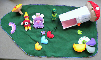 Beautiful Handcrafted Felt Playmat with Fairy and Elf - excellent condition