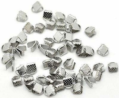 20 x 8mm Silver Ribbon Clamps End Crimps With Loop Jewellery Findings
