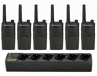 6 Motorola RMM2050 VHF MURS Business Radios with Bank Charger