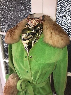 STUNNING 70s PEA GREEN SUEDE COAT W FAUX FUR COLLAR & CUFFS MADE IN CANADA