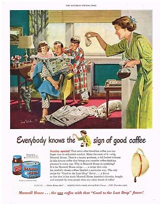 MAXWELL HOUSE COFFEE AD FAMILY SUNDAY HOME Original 1950 Vintage Print Ad SSV13