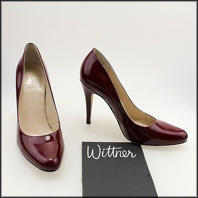 Wittner Women's High Heel Patent Leather Red Dress Heels Shoes Size 8.5 Au 40 Eu
