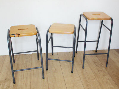 Selection of Vintage School Stools - Industrial Metal Tubing with Wooden Seats