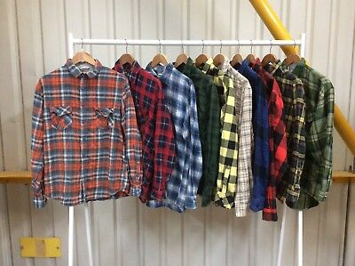 Job Lot 10 X Flannel Shirts Mixed Sizes & Colours (01)
