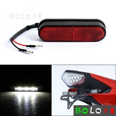 Universal Motorbike 3 LED Rear License Plate Number Plate Light w/ Red Reflector