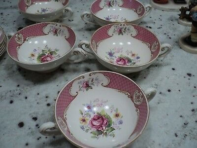 Myott  Son & Co Lt China Staffordshire Rose Pink   5) Cream Soup Bowls