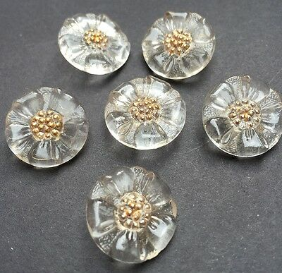 6 Pretty  Vintage French 2cm Glass Flower Buttons