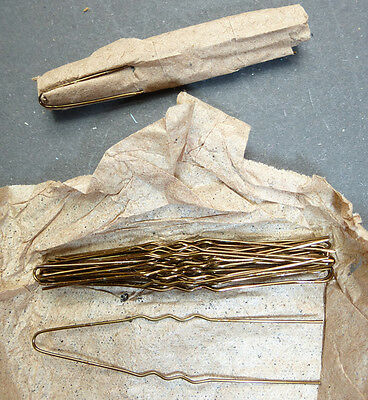 Vintage 1940s Thin BROWN 5cm Crimped  Hair Pins - 20 in a Roll