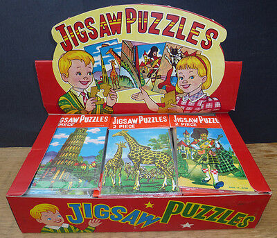 """Vintage """"Made in Japan"""" Shop Display Box of 144 Jigsaws - 6 different Puzzles"""