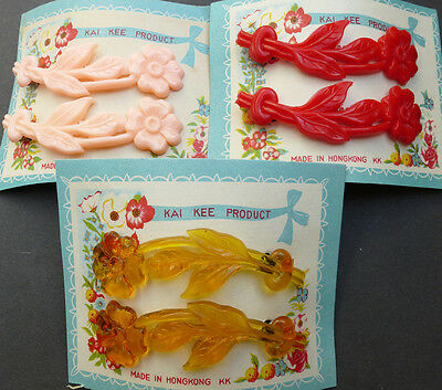2 Glorious Bright Vintage Flower Hair Slides -Choice of 3 Colours