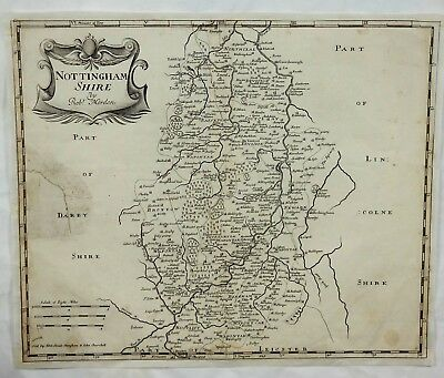 Original Engraved Map of Great Britain - NOTTINGHAMSHIRE - by Morden in 1695