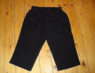 BNWT MATERNITY Black Linen Blend Cropped Trousers US 14, UK 18