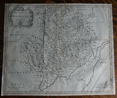 Original Engraved Map of Great Britain - COUNTY of MONMOUTH - by Morden in 1695