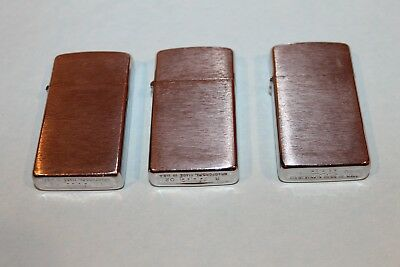LOT OF 3 Vintage Zippo BRUSHED CHROME Lighters 2001 & 2002  ALL WORKING