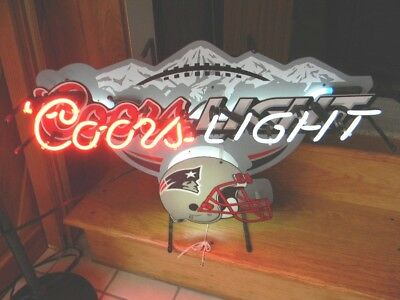 Coors Light Beer New England Patriots Football Light Up Neon Sign Golden Co.