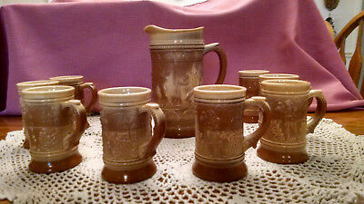 Antique Greentown Indiana Chocolate Pressed Glass Pitcher and 8 Mugs