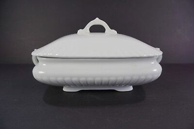 Antique Bishop Stonier England White Ironstone Covered Tureen Vegetable Dish