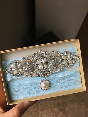 Wedding garter, Bridal Garter Set - CRYSTAL LIGHT BLUE LACE Garter Set