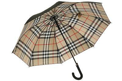 New Burberry Luxury Black Horseferry Check Walking Umbrella W/cover