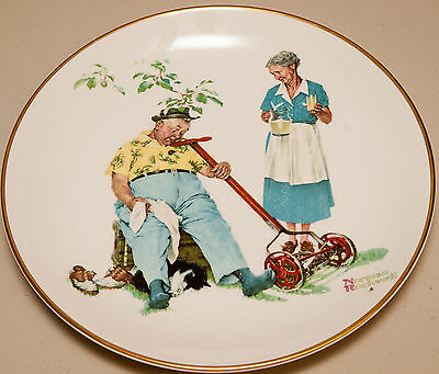 """Norman Rockwell Collectable Plate """"Summer - Cool Aid"""" (Very Good)"""