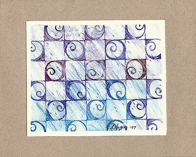"""Abstract Watercolor """"Peace and Quiet"""" 7"""" x 6"""" Artist Signed Original 153"""