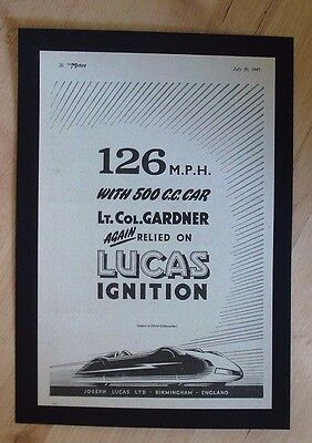 Joseph Lucas Ltd, Birmingham Lucas Ignition Original Vintage 1947 Advert