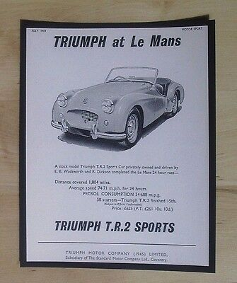 TRIUMPH T.R.2. AT Le Mans - ORIGINAL VINTAGE ADVERT MOTOR SPORT JUNE 1954
