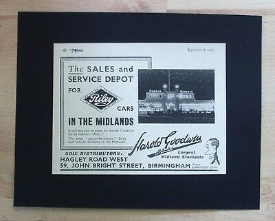 Riley Cars, Birmingham Harold Goodwin Dealership Original Vintage 1934 Advert