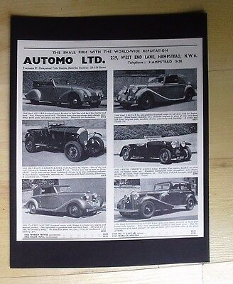Lagonda, Jaguar, Bentley - Automo, Hamstead Original Vintage Advert October 1955