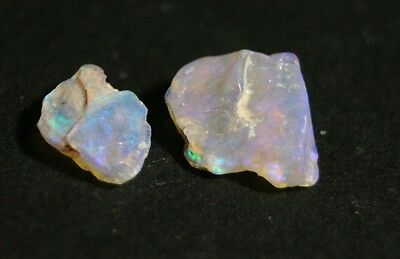 3.8ct Lightning Ridge Crystal Black Opal Rough 2pc Lot - AAA Specimen