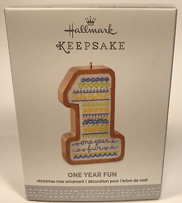 "Hallmark Keepsake Ornament ONE YEAR FUN ""BOY"" Wood & Fabric NIB Free Ship"
