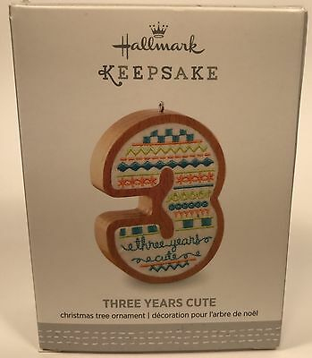"Hallmark Keepsake Ornament Three Years Cute  ""BOY"" Wood & Fabric  NIB Free Ship!"