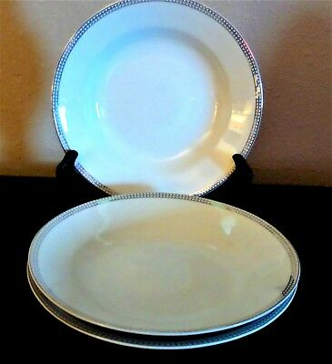 Compton Fine China Classic Dot Cereal Bowls x3 Platinum Band