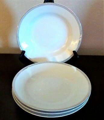 Compton Fine China Classic Dot Cereal Bowls x4 Platinum Band