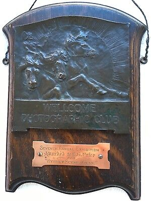 Antique Sir Henry Wellcome Photographic Club 1907 Exhibition Bronze / Oak Award