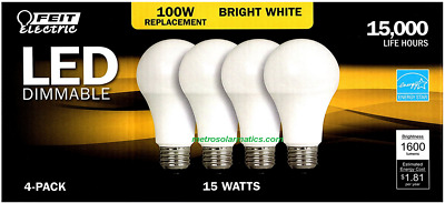FEIT 4-PACK 100W LED - Dimmable Replacement Bulbs 1600 Lumens 15W Bright White
