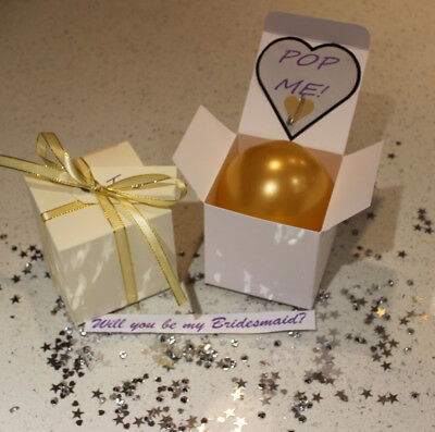 Personalised balloon proposal box Will you be my Bridesmaid godmother hen flower