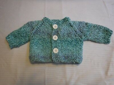 Hand Knit Baby Sweater, Blue green.  Made of soft bulky yarn. Small. Shower gift