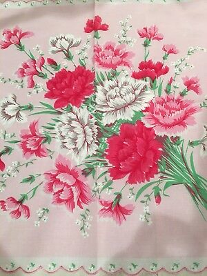 Beautiful New Pink CARNATIONS Floral Handkerchief Hankie!