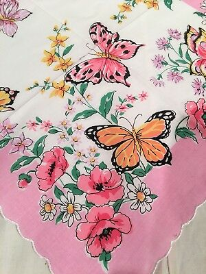 Stunning New Pink Butterflies Floral Handkerchief Hankie! LuRay Collection