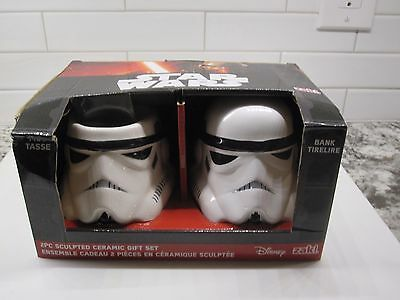 Star Wars Darth Vader Mug & Bank-2PC Ceramic Gift Set in White Disney zak! NIB