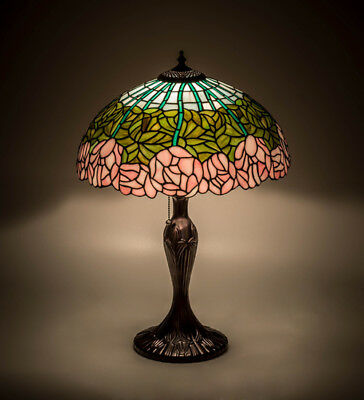 "Meyda Lighting 23"" Cabbage Rose Flower Table Lamp Tiffany Style Stained Glass"
