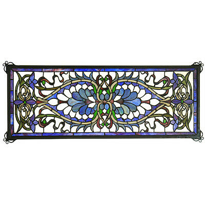"Meyda Lighting Antoinette Transom Stained Glass Window Panel 29""W X 11""H 78104"