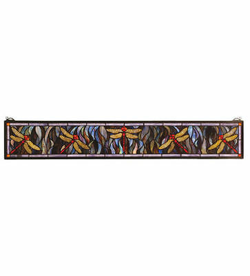 "Meyda Lighting 72896 40.5""W X 6H Dragonfly Stained Glass Window Panel"