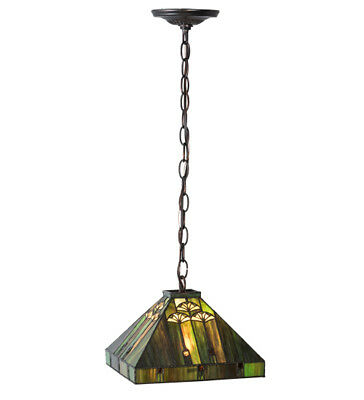 "Meyda Lighting 10""Sq Ginkgo Pendant Ceiling Fixture Tiffany Style Stained Glass"