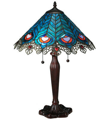 """Victorian Peacock Feather Lace Table Lamp Light Tiffany Style Stained Glass 23""""H"""